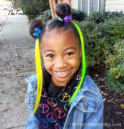 black girls two buns hairstyle