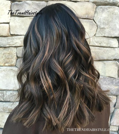 black hair with brown highlights