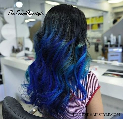 black hair with electric blue ombre highlights