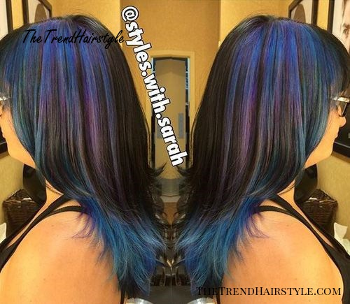 black hair with pastel blue and purple highlights