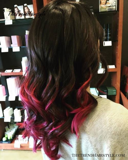 black hair with pink ends