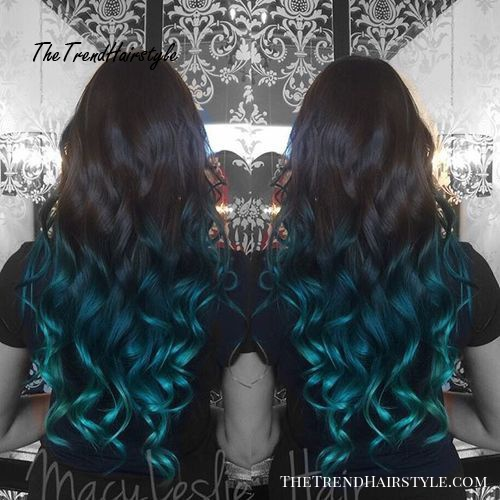 black into blue ombre for long hair