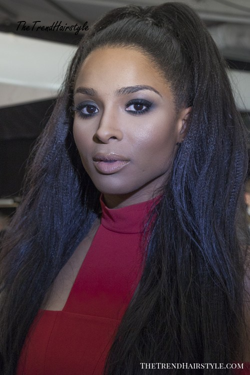 black ponytail hairstyle for relaxed hair