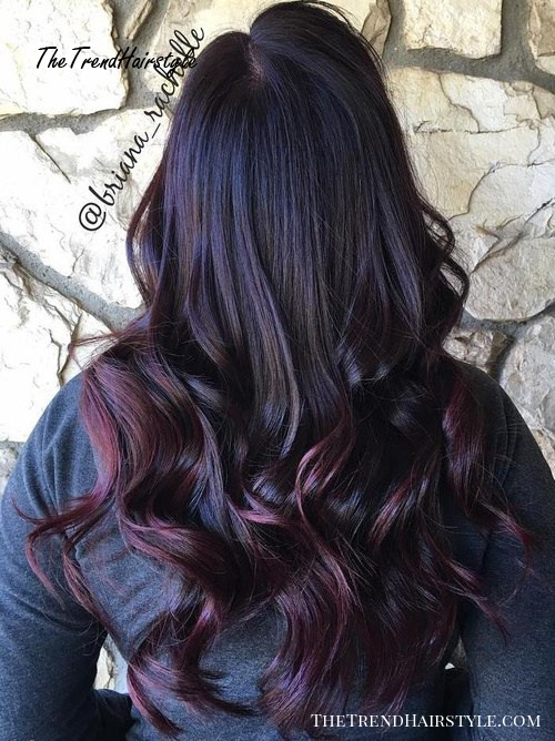 black to burgundy ombre