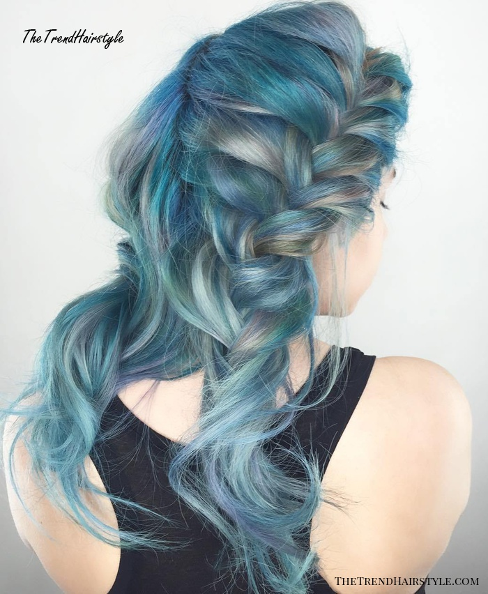blonde and blue hairstyle with two braids
