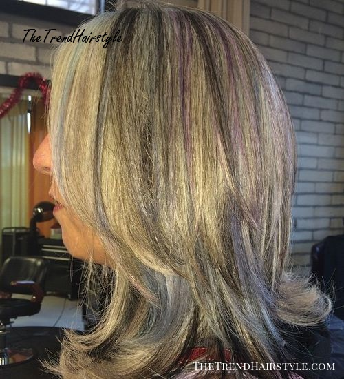 blonde hair with black and purple highlights