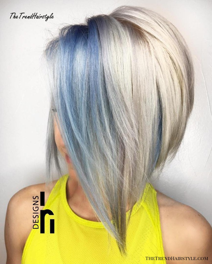 blue and blonde bob