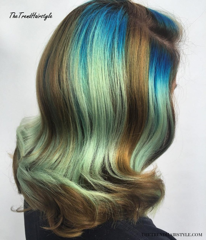 blue and teal balayage for brown hair