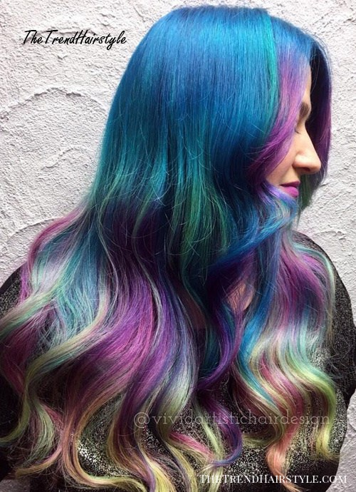 blue, teal and lavender pastel hair color