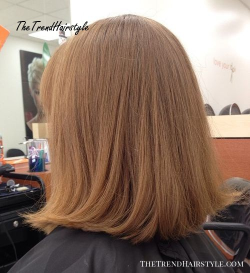 blunt lob straight hairstyle