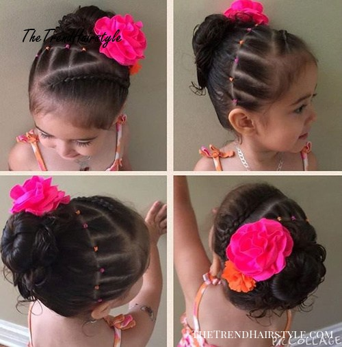 braid and bun with a flower updo for toddlers