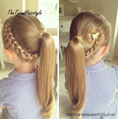 braid and pony hairstyle for girls