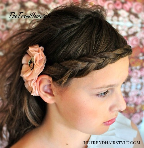 braided bangs and a flower for long hair