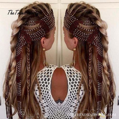 braided half up hairstyle for long hair