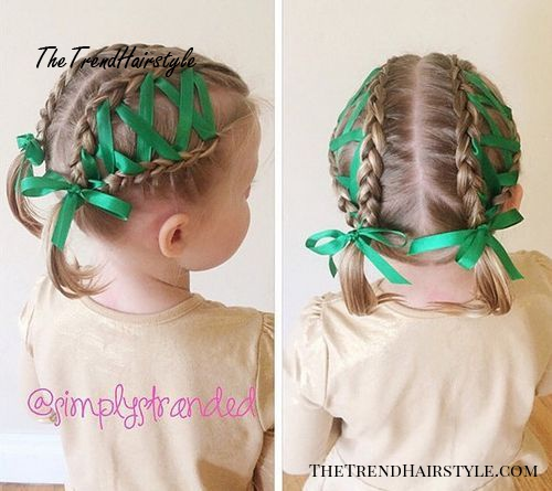 braided little girls hairstyle with ribbons