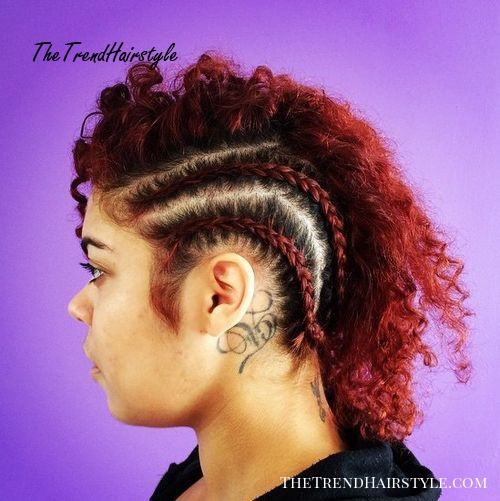 braided mohawk for curly hair