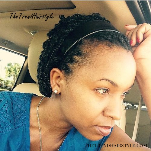 braided natural hair style with a headband