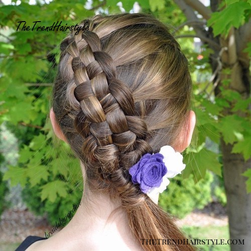 braided updo with a side pony for girls