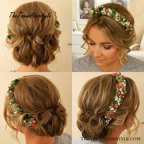 bridesmaids curly updo with a floral headband