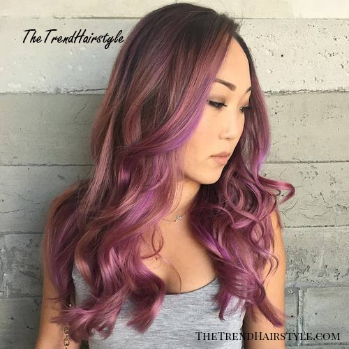 brown hair with lavender and pastel pink balayage