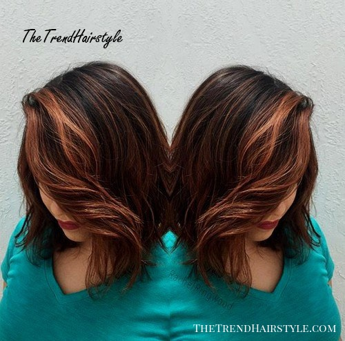 brown lob with face-framing balayage