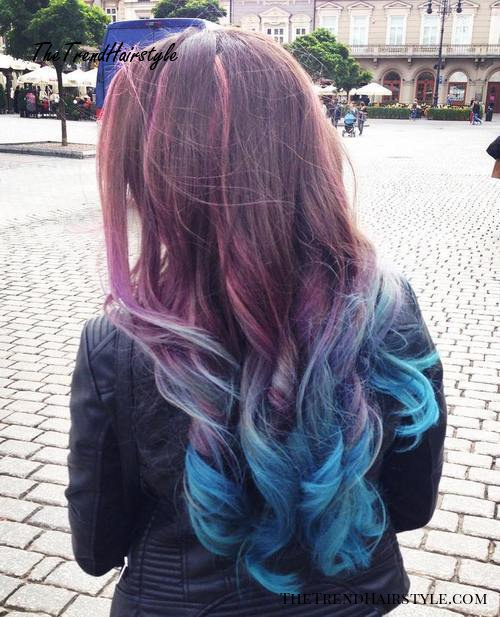 brown to teal long ombre hair