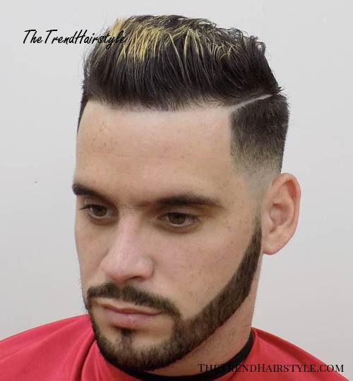 brushed up taper fade with a shaved side part