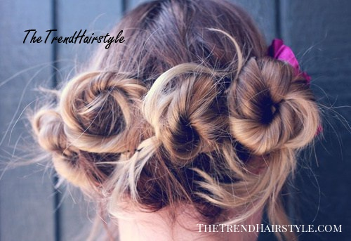 casual triple bun updo