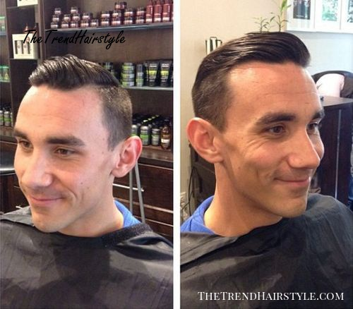 combed back hairstyle for balding men