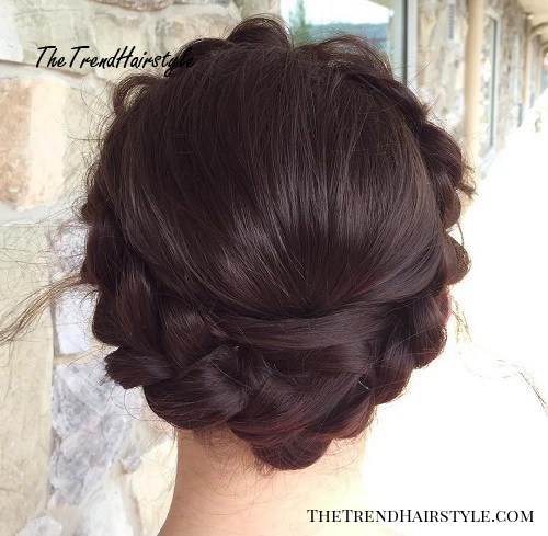 crown braid brunette updo