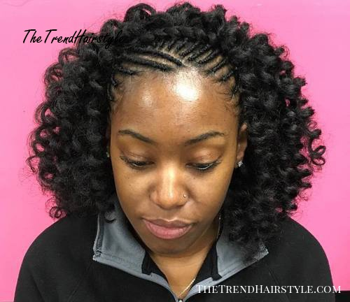 curly hairstyle with braided tree braids