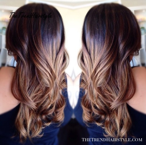 dark brown to caramel ombre