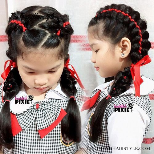 double braids with zigzag parting