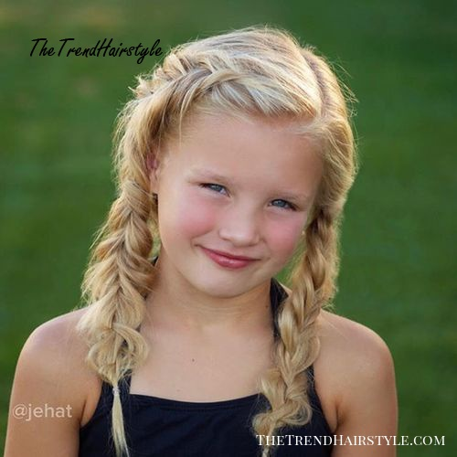 double fishtail girls hairstyle