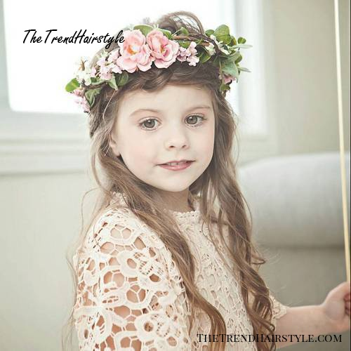 easy girls hairstyle with a floral headband