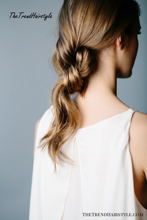 easy knotted pony updo for long hair