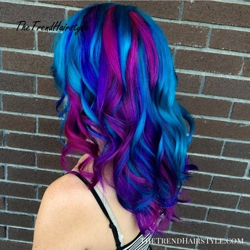 electric blue and magenta hair color