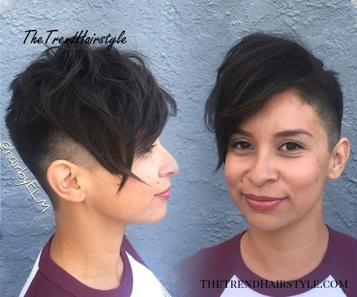 extra short pixie with long angled bangs