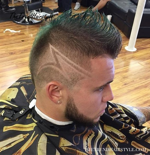 fade mohawk with shaven designs for thin hair
