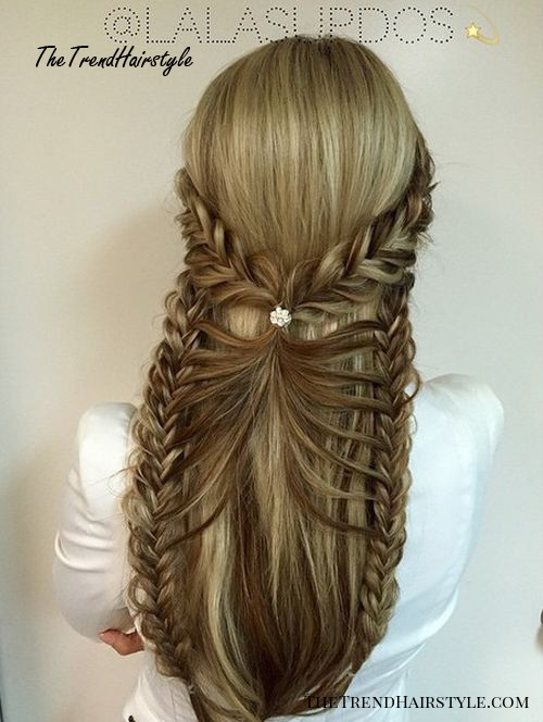 fancy braided half up hairstyle