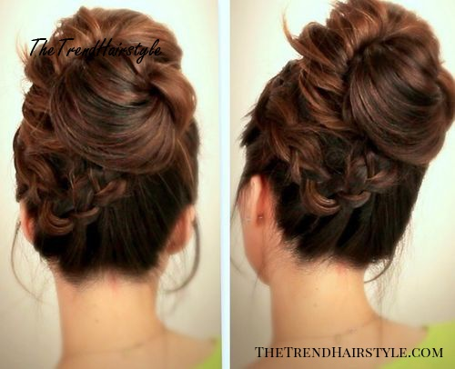 fancy braided updo for long hair with a messy touch