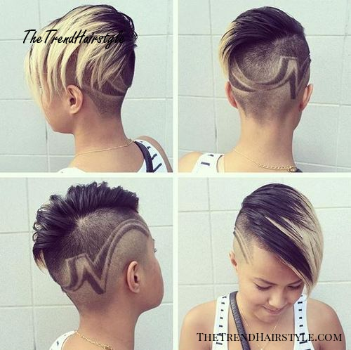 funky long top short sides hairstyle for women