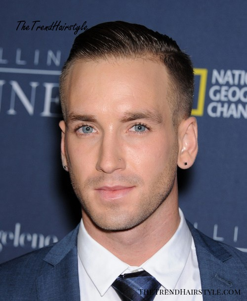 gelled side-parted men's hairstyle