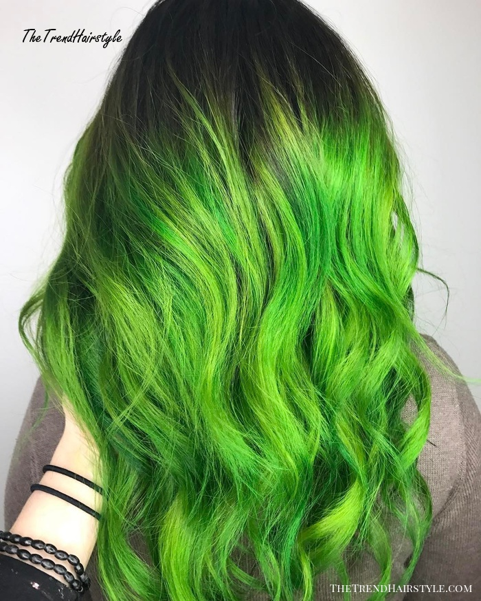 green hair with root fade