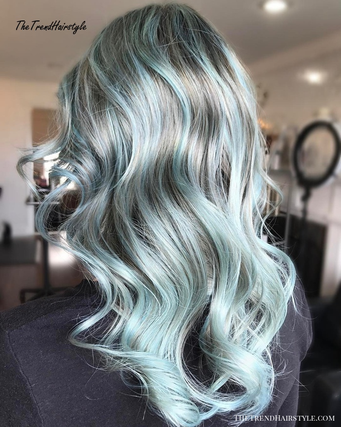 grey and pale blue hair