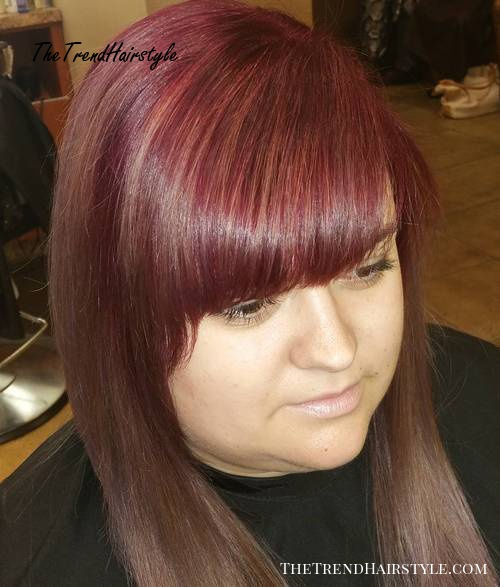 hairstyle with bangs for round faces