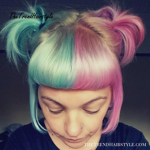half pastel pink half teal hair color