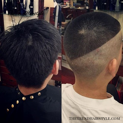 half shaved extra short men's haircut