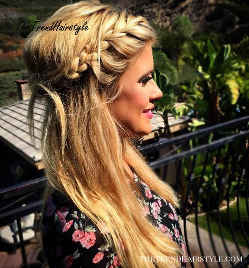 half up braided crown for long straight hair