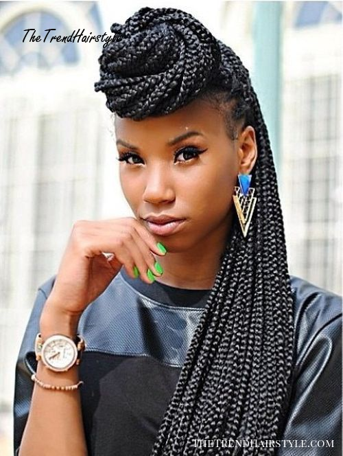 half up bun for long box braids